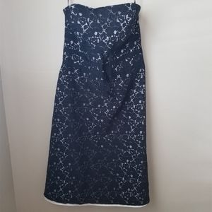 White House Black Market Strapless Navy Lace Dress